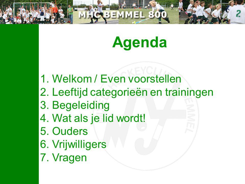 Agenda 1. Welkom / Even voorstellen 2. Leeftijd categorieën en trainingen 3. Begeleiding 4. Wat als je lid wordt! 5. Ouders 6. Vrijwilligers 7. Vragen