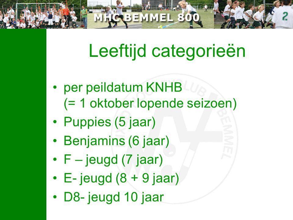 Leeftijd categorieën per peildatum KNHB (= 1 oktober lopende seizoen) Puppies (5 jaar) Benjamins (6 jaar) F – jeugd (7 jaar) E- jeugd (8 + 9 jaar) D8-