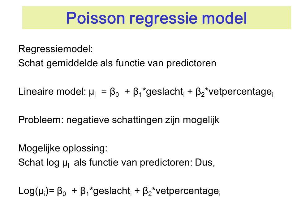 Poisson regressie model Regressiemodel: Schat gemiddelde als functie van predictoren Lineaire model: µ i = β 0 + β 1 *geslacht i + β 2 *vetpercentage