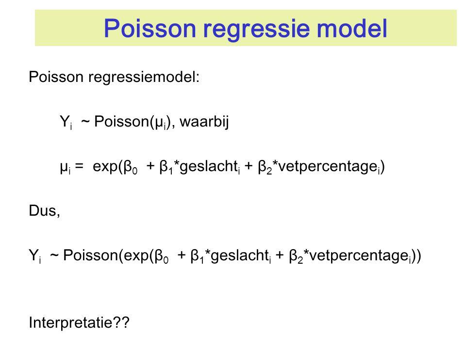Poisson regressie model Poisson regressiemodel: Y i ~ Poisson(µ i ), waarbij µ i = exp(β 0 + β 1 *geslacht i + β 2 *vetpercentage i ) Dus, Y i ~ Poiss