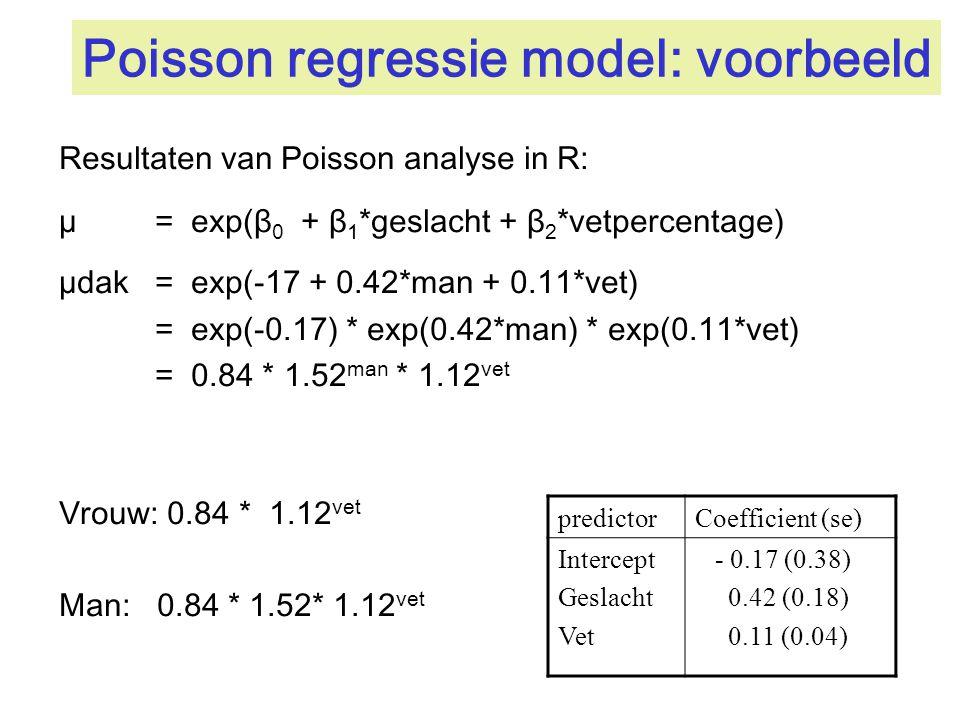 Poisson regressie model: voorbeeld Resultaten van Poisson analyse in R: µ = exp(β 0 + β 1 *geslacht + β 2 *vetpercentage) µdak= exp(-17 + 0.42*man + 0