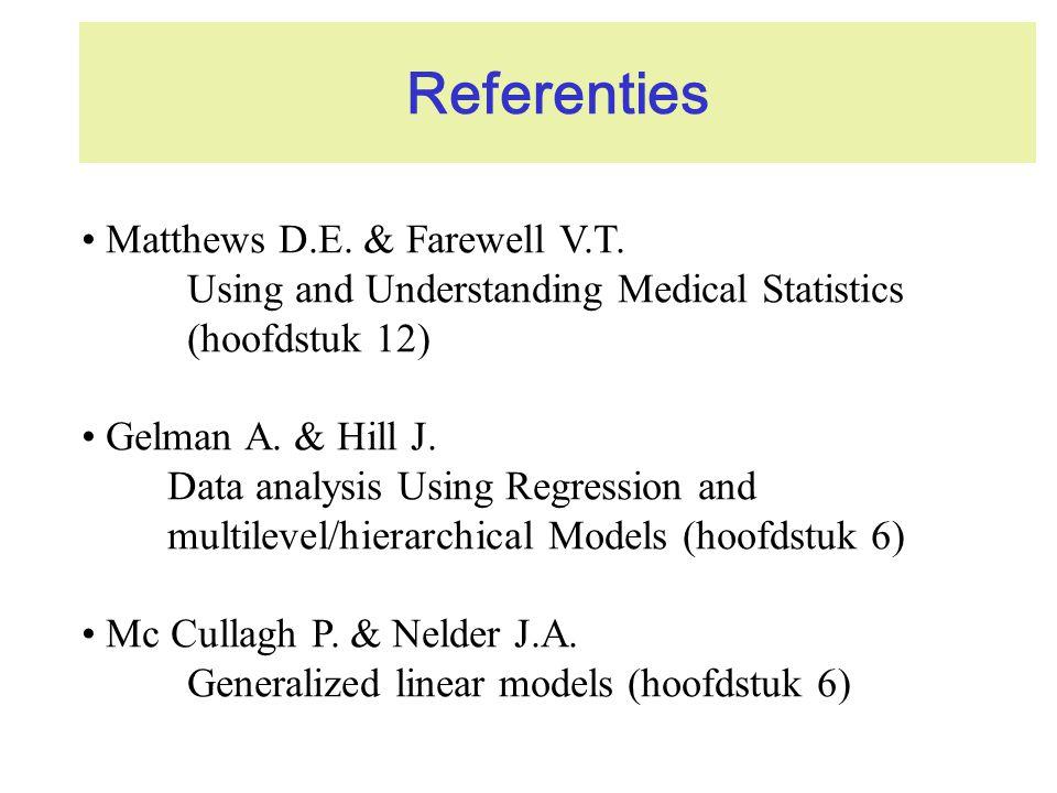 Referenties Matthews D.E. & Farewell V.T. Using and Understanding Medical Statistics (hoofdstuk 12) Gelman A. & Hill J. Data analysis Using Regression