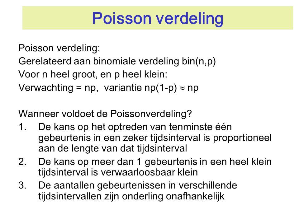 Poisson verdeling Poisson verdeling: Gerelateerd aan binomiale verdeling bin(n,p) Voor n heel groot, en p heel klein: Verwachting = np, variantie np(1