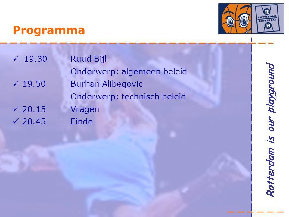 Programma 19.30 Ruud Bijl Onderwerp: algemeen beleid 19.50Burhan Alibegovic Onderwerp: technisch beleid 20.15Vragen 20.45 Einde