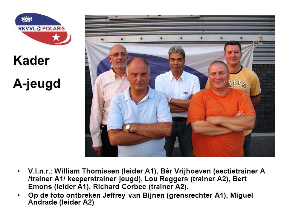 V.l.n.r.: William Thomissen (leider A1), Bèr Vrijhoeven (sectietrainer A /trainer A1/ keeperstrainer jeugd), Lou Reggers (trainer A2), Bert Emons (lei