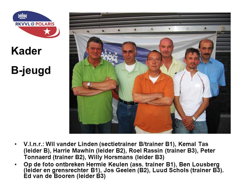 Staand (v.l.n.r): Frans Gerardu (trainer C3), Noel Gulikers (trainer C2), Roger Renkens (ass.