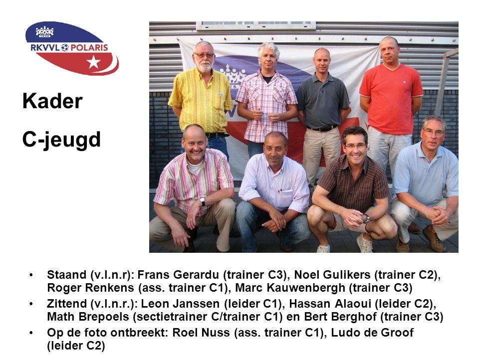 Staand (v.l.n.r): Frans Gerardu (trainer C3), Noel Gulikers (trainer C2), Roger Renkens (ass. trainer C1), Marc Kauwenbergh (trainer C3) Zittend (v.l.