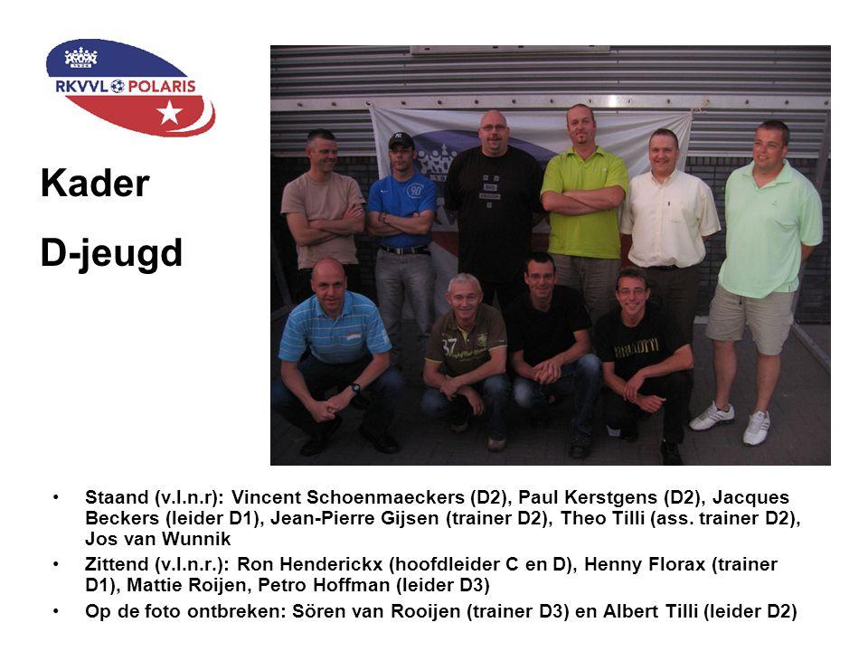 Staand (v.l.n.r): Vincent Schoenmaeckers (D2), Paul Kerstgens (D2), Jacques Beckers (leider D1), Jean-Pierre Gijsen (trainer D2), Theo Tilli (ass. tra