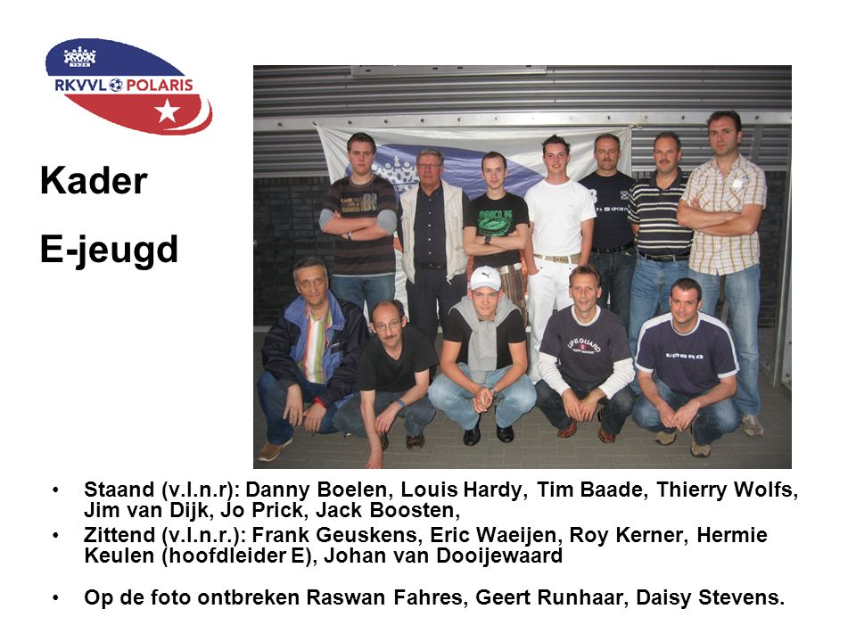 Kader F-jeugd Staand (v.l.n.r): Goderd Vrijhoeven (F3), Danny Heuts (F1), Matthy Swaen (F1), Anja Roijen (Hoofdleidster), Wilfried Muré (F3), Ruud van Lijf (F2) Zittend (v.l.n.r.): Ronald Bastian (F4), Im Kool (F1), Alex van Hoorn (MF ¾), Ruud Castermans (F4) Op de foto ontbreken: William Ruitenschild (F2), Carol Berghmans F2), Björn van Bogaert (F3), Audrey Verhoeven (MF ½), Marcel Evers (MF ½), Stan van Hoesel (MF ¾), Carol Berghmans (F2)