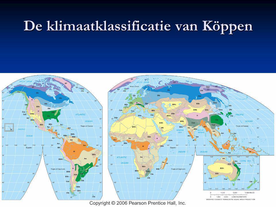 Empirische klassificatie: Köppen Köppen keek naar de wereldwijde verspreiding van verschillende planten- en dierensoorten en zocht naar weervariabelen die met deze patronen correleerden Köppen keek naar de wereldwijde verspreiding van verschillende planten- en dierensoorten en zocht naar weervariabelen die met deze patronen correleerden