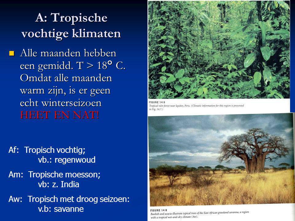 A: Tropische vochtige klimaten Alle maanden hebben een gemidd. T > 18° C. Omdat alle maanden warm zijn, is er geen echt winterseizoen HEET EN NAT! All