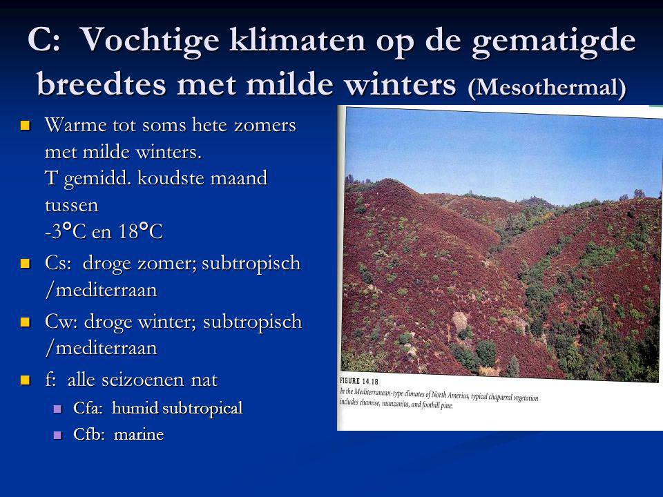 C: Vochtige klimaten op de gematigde breedtes met milde winters (Mesothermal) Warme tot soms hete zomers met milde winters. T gemidd. koudste maand tu