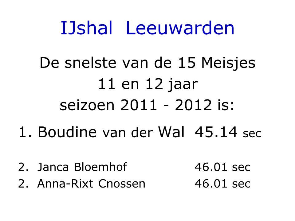 IJshal Leeuwarden De snelste van de 15 Meisjes 11 en 12 jaar seizoen 2011 - 2012 is: 1.Boudine van der Wal 45.14 sec 2.Janca Bloemhof 46.01 sec 2. Ann