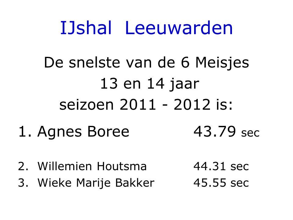 IJshal Leeuwarden De snelste van de 6 Meisjes 13 en 14 jaar seizoen 2011 - 2012 is: 1.Agnes Boree 43.79 sec 2.Willemien Houtsma44.31 sec 3.Wieke Marije Bakker45.55 sec