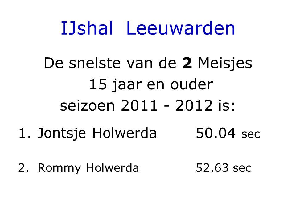 IJshal Leeuwarden De snelste van de 2 Meisjes 15 jaar en ouder seizoen 2011 - 2012 is: 1.Jontsje Holwerda 50.04 sec 2.Rommy Holwerda52.63 sec