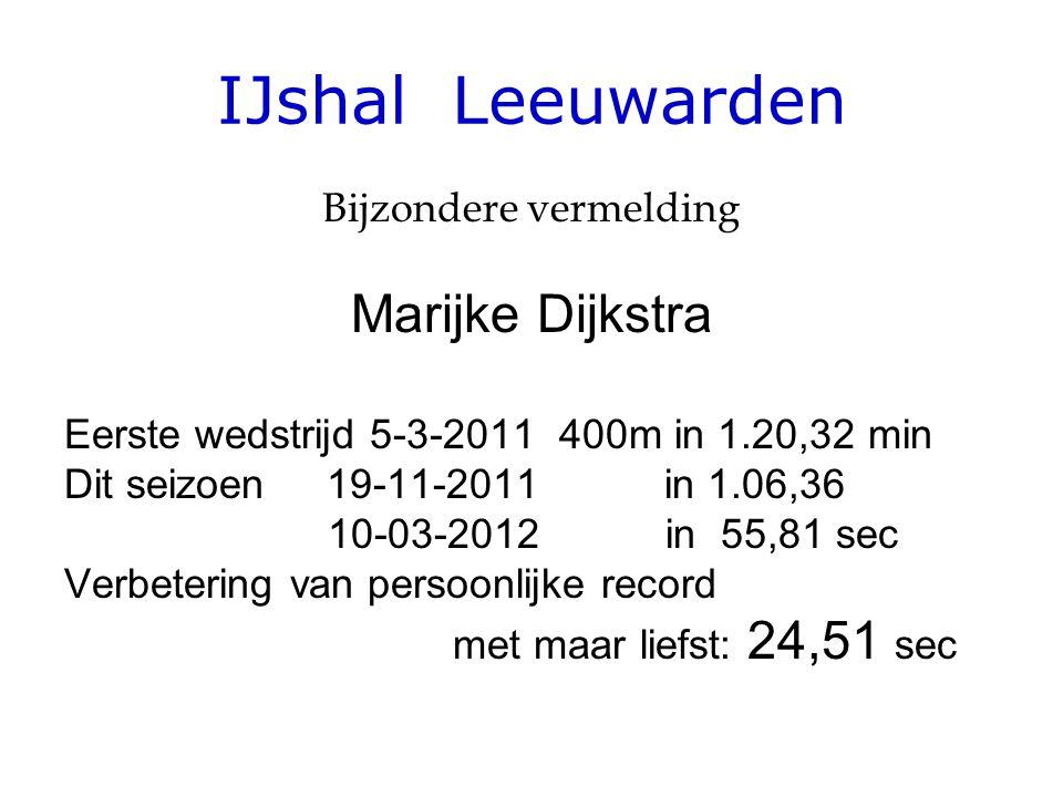 IJshal Leeuwarden Bijzondere vermelding Marijke Dijkstra Eerste wedstrijd 5-3-2011 400m in 1.20,32 min Dit seizoen 19-11-2011 in 1.06,36 10-03-2012 in