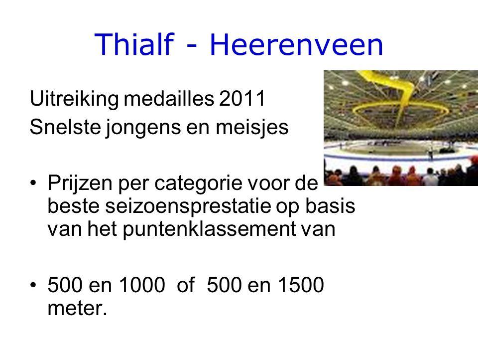 Thialf - Heerenveen Uitreiking medailles 2011 Snelste jongens en meisjes Prijzen per categorie voor de beste seizoensprestatie op basis van het puntenklassement van 500 en 1000 of 500 en 1500 meter.