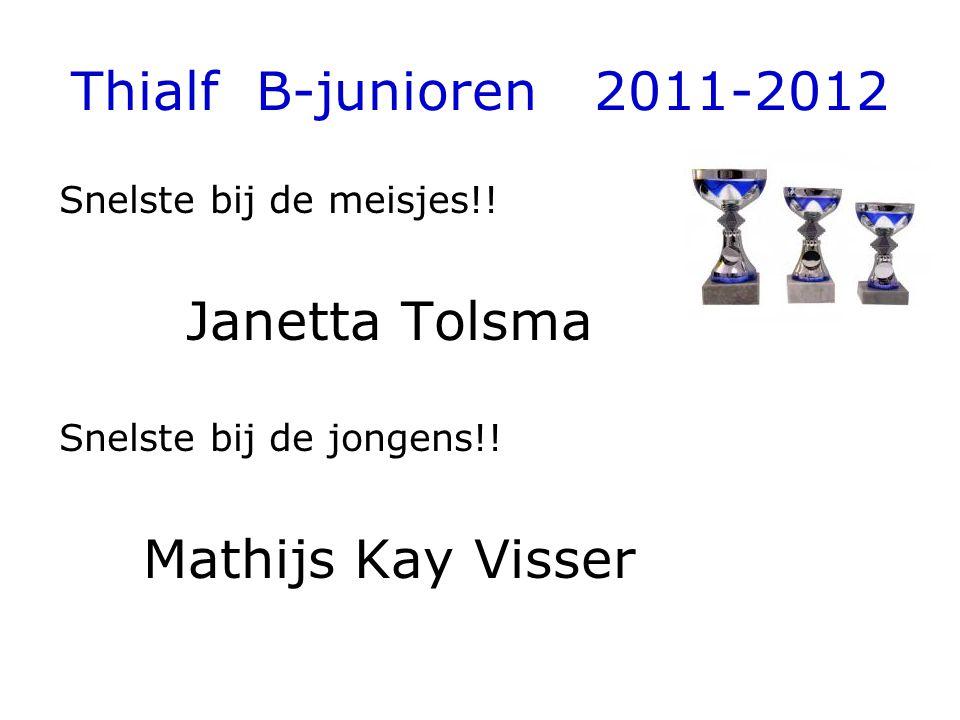 Thialf B-junioren 2011-2012 Snelste bij de meisjes!! Janetta Tolsma Snelste bij de jongens!! Mathijs Kay Visser