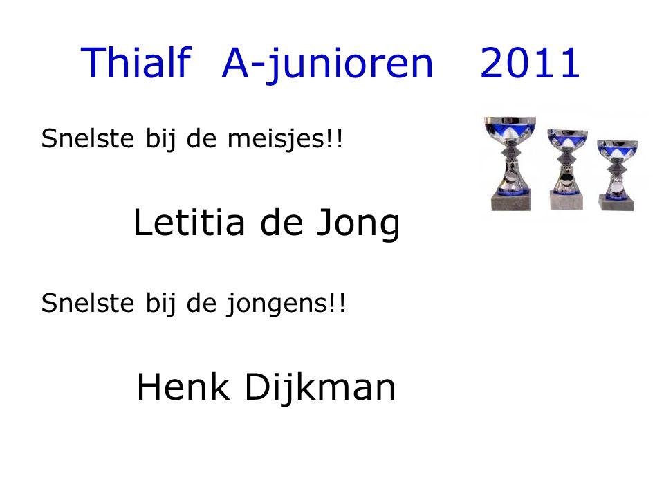 Thialf A-junioren 2011 Snelste bij de meisjes!! Letitia de Jong Snelste bij de jongens!! Henk Dijkman