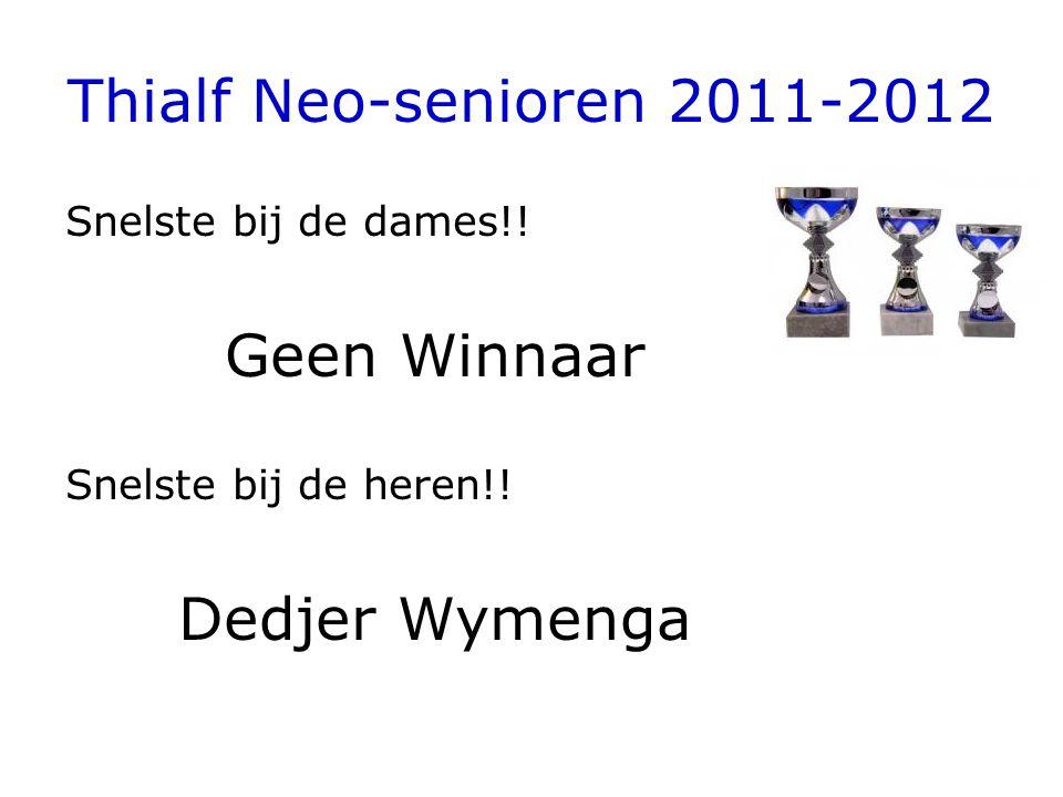 Thialf Neo-senioren 2011-2012 Snelste bij de dames!! Geen Winnaar Snelste bij de heren!! Dedjer Wymenga
