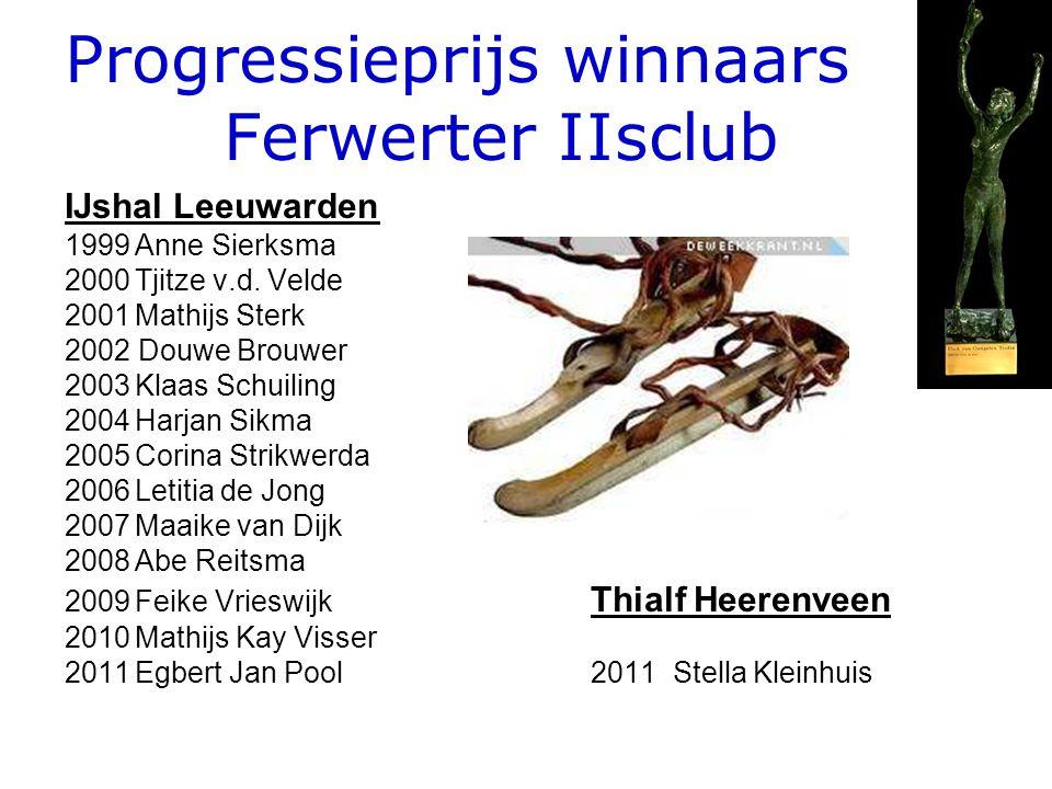 Progressieprijs winnaars Ferwerter IIsclub IJshal Leeuwarden 1999Anne Sierksma 2000Tjitze v.d. Velde 2001Mathijs Sterk 2002 Douwe Brouwer 2003Klaas Sc