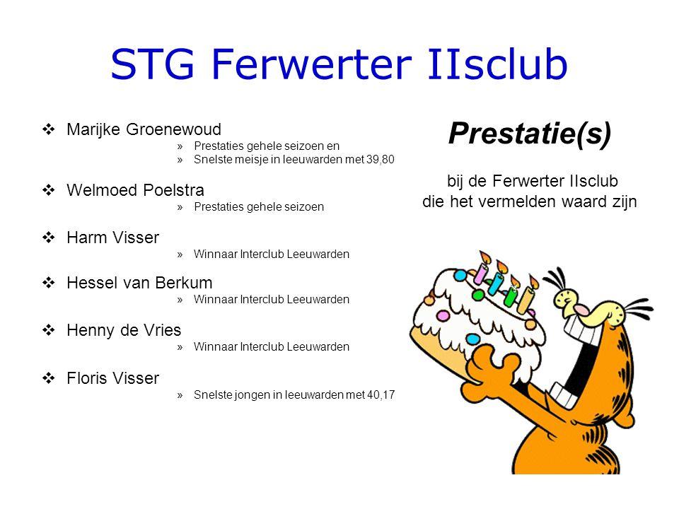 STG Ferwerter IIsclub  Marijke Groenewoud »Prestaties gehele seizoen en »Snelste meisje in leeuwarden met 39,80  Welmoed Poelstra »Prestaties gehele