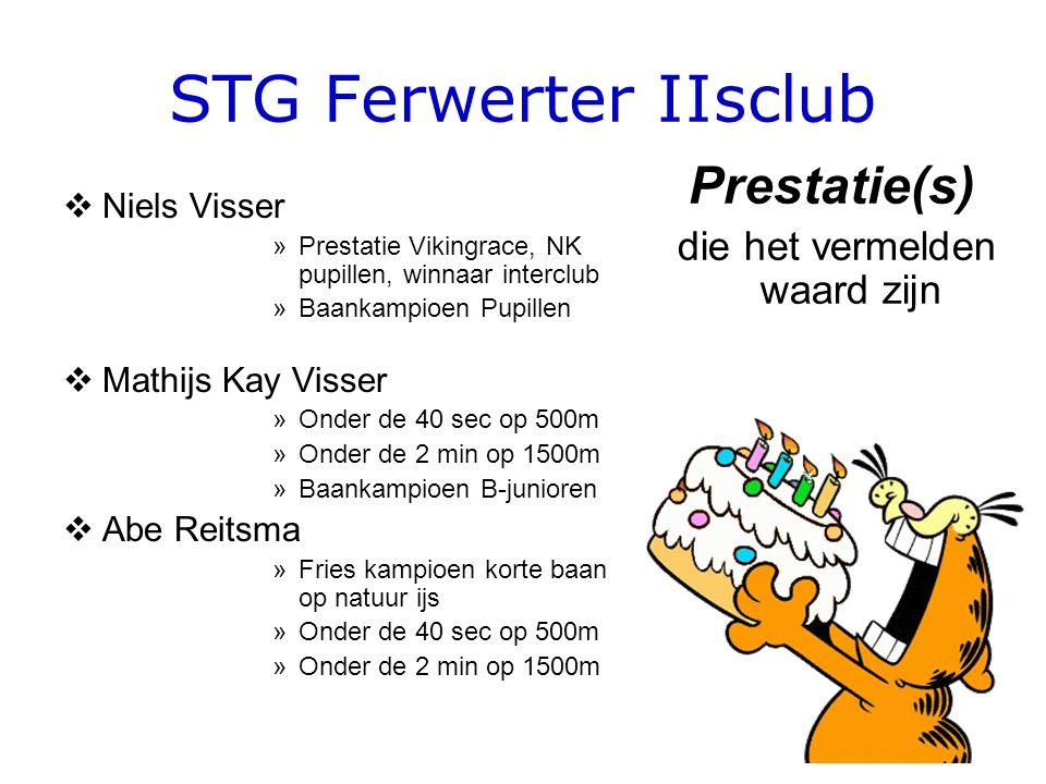 STG Ferwerter IIsclub  Niels Visser »Prestatie Vikingrace, NK pupillen, winnaar interclub »Baankampioen Pupillen  Mathijs Kay Visser »Onder de 40 sec op 500m »Onder de 2 min op 1500m »Baankampioen B-junioren  Abe Reitsma »Fries kampioen korte baan op natuur ijs »Onder de 40 sec op 500m »Onder de 2 min op 1500m Prestatie(s) die het vermelden waard zijn
