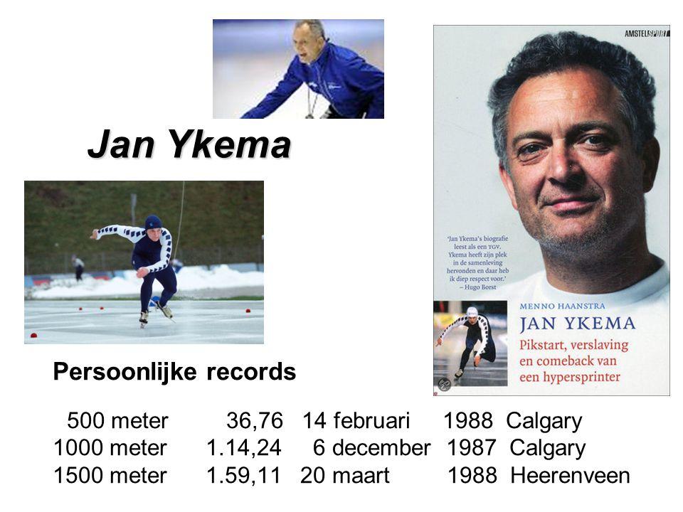 Persoonlijke records 500 meter 36,76 14 februari 1988 Calgary 1000 meter 1.14,24 6 december 1987 Calgary 1500 meter 1.59,11 20 maart 1988 Heerenveen Jan Ykema