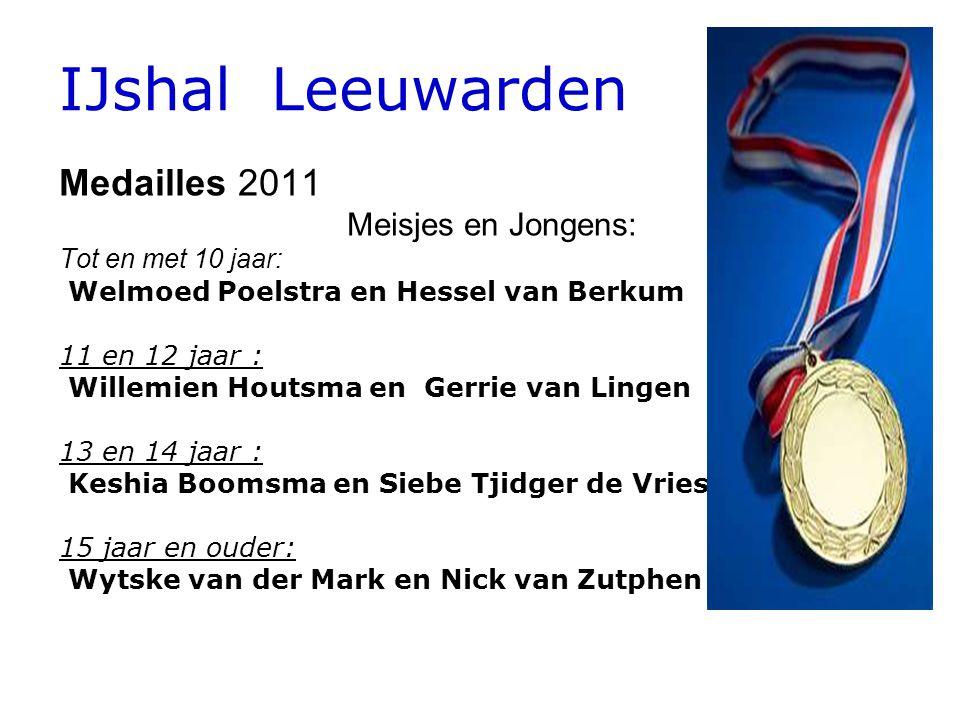 IJshal Leeuwarden Medailles 2011 Meisjes en Jongens: Tot en met 10 jaar: Welmoed Poelstra en Hessel van Berkum 11 en 12 jaar: Willemien Houtsma en Ger