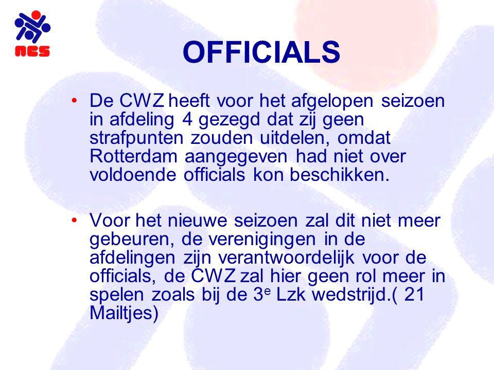OFFICIALS De CWZ heeft voor het afgelopen seizoen in afdeling 4 gezegd dat zij geen strafpunten zouden uitdelen, omdat Rotterdam aangegeven had niet over voldoende officials kon beschikken.