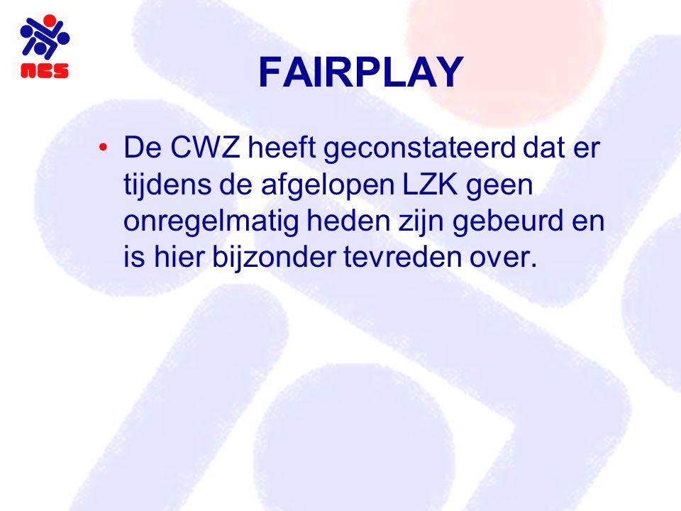 FAIRPLAY De CWZ heeft geconstateerd dat er tijdens de afgelopen LZK geen onregelmatig heden zijn gebeurd en is hier bijzonder tevreden over.