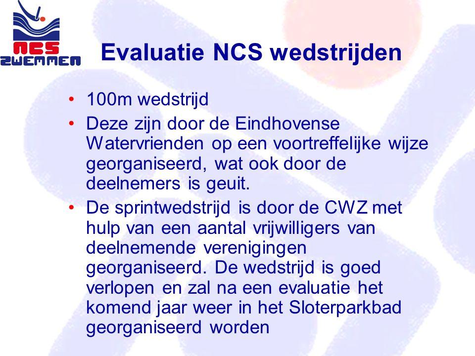 Evaluatie NCS wedstrijden 100m wedstrijd Deze zijn door de Eindhovense Watervrienden op een voortreffelijke wijze georganiseerd, wat ook door de deelnemers is geuit.