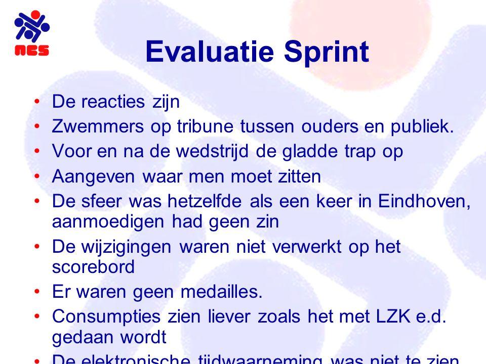 Evaluatie Sprint De reacties zijn Zwemmers op tribune tussen ouders en publiek. Voor en na de wedstrijd de gladde trap op Aangeven waar men moet zitte
