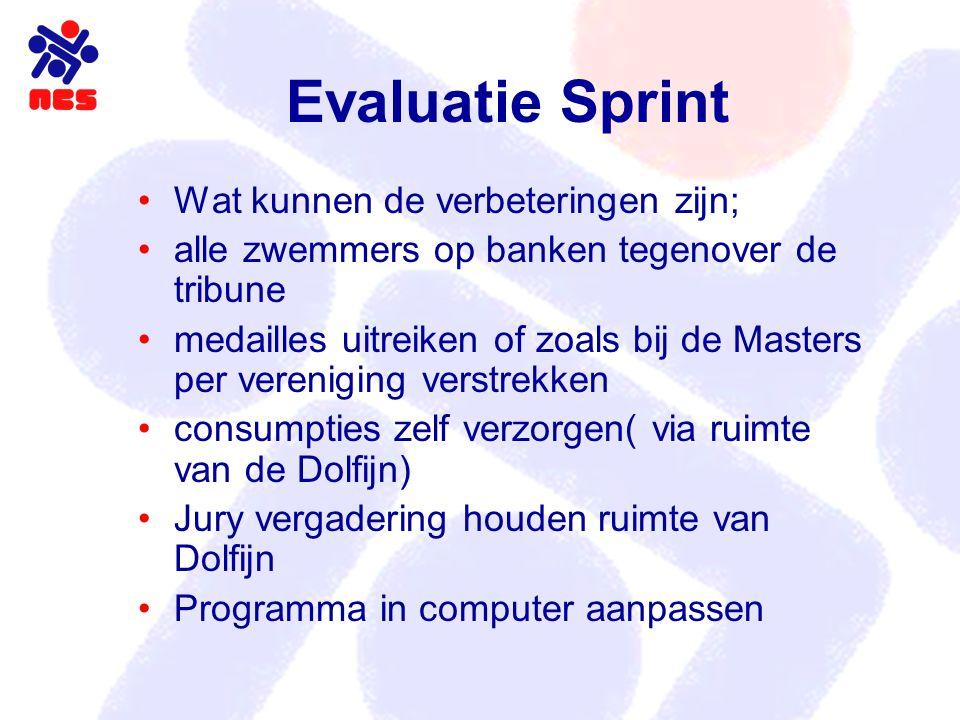 Evaluatie Sprint Wat kunnen de verbeteringen zijn; alle zwemmers op banken tegenover de tribune medailles uitreiken of zoals bij de Masters per vereni