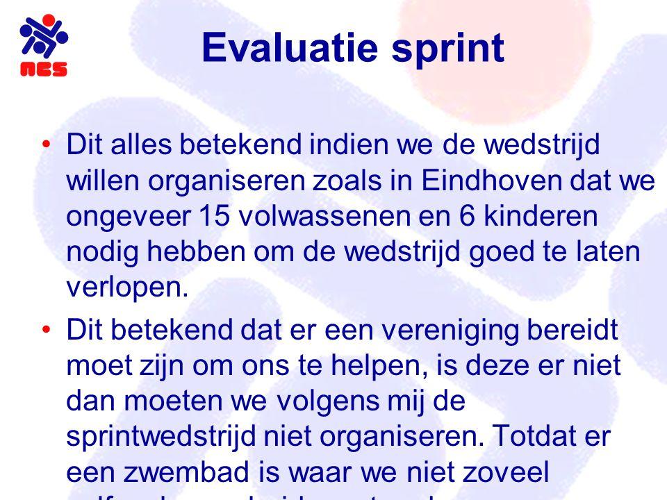 Evaluatie sprint Dit alles betekend indien we de wedstrijd willen organiseren zoals in Eindhoven dat we ongeveer 15 volwassenen en 6 kinderen nodig hebben om de wedstrijd goed te laten verlopen.