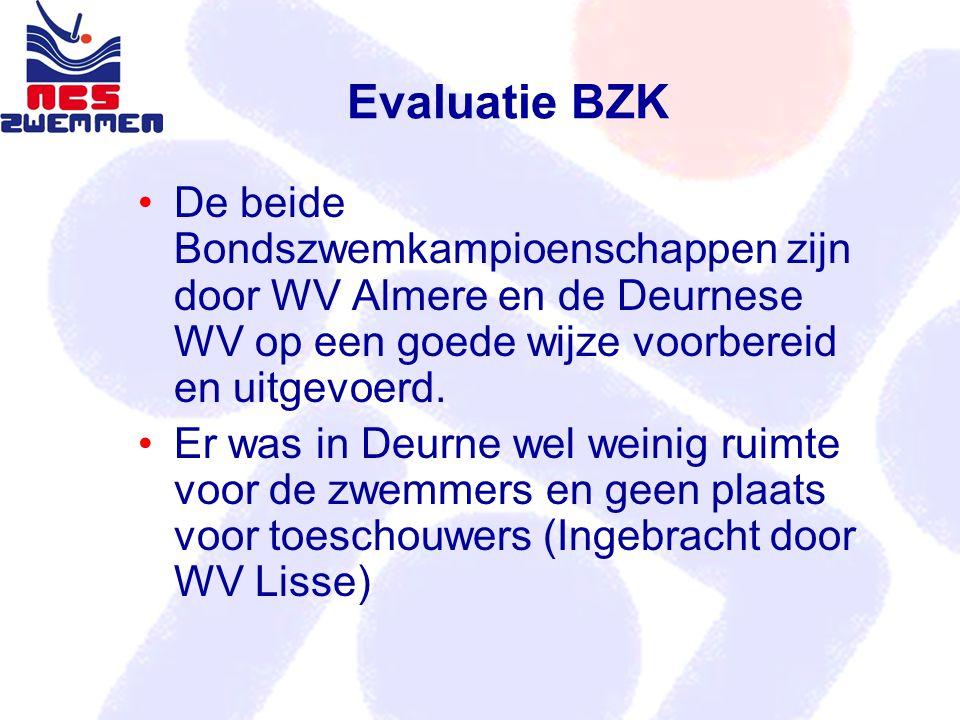 Evaluatie BZK De beide Bondszwemkampioenschappen zijn door WV Almere en de Deurnese WV op een goede wijze voorbereid en uitgevoerd. Er was in Deurne w
