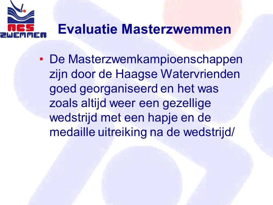 Evaluatie Masterzwemmen De Masterzwemkampioenschappen zijn door de Haagse Watervrienden goed georganiseerd en het was zoals altijd weer een gezellige wedstrijd met een hapje en de medaille uitreiking na de wedstrijd/