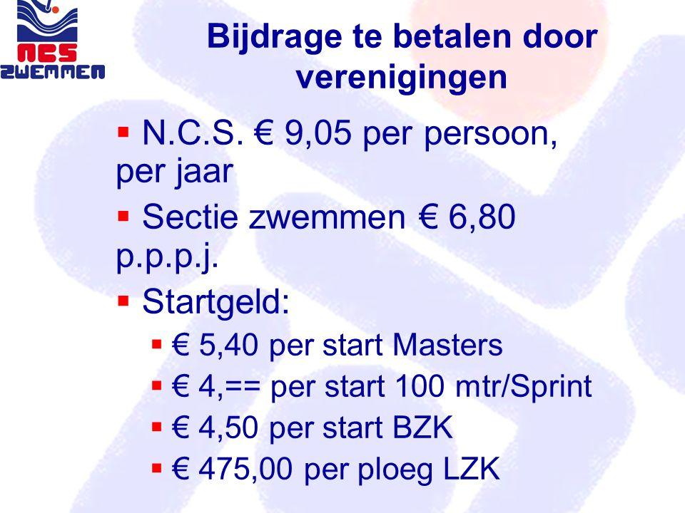 Bijdrage te betalen door verenigingen  N.C.S. € 9,05 per persoon, per jaar  Sectie zwemmen € 6,80 p.p.p.j.  Startgeld:  € 5,40 per start Masters 