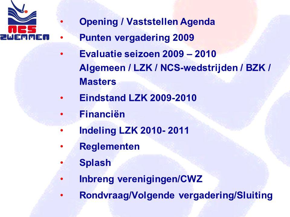 Agenda Opening / Vaststellen Agenda Punten vergadering 2009 Evaluatie seizoen 2009 – 2010 Algemeen / LZK / NCS-wedstrijden / BZK / Masters Eindstand L