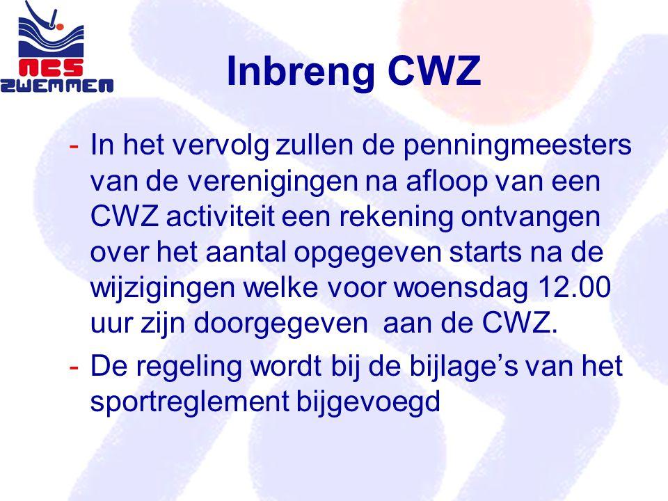 Inbreng CWZ In het vervolg zullen de penningmeesters van de verenigingen na afloop van een CWZ activiteit een rekening ontvangen over het aantal opge