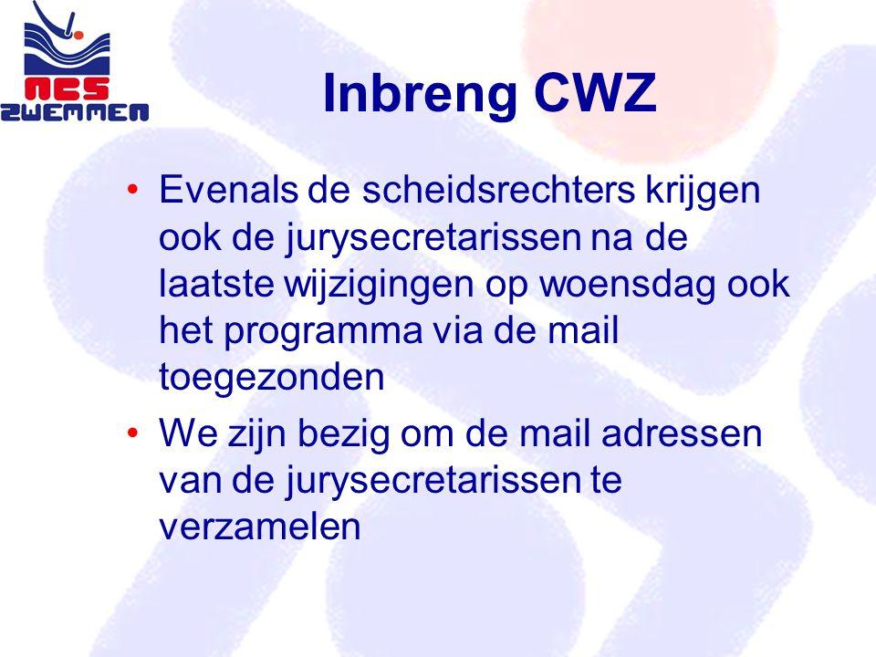 Inbreng CWZ Evenals de scheidsrechters krijgen ook de jurysecretarissen na de laatste wijzigingen op woensdag ook het programma via de mail toegezonde