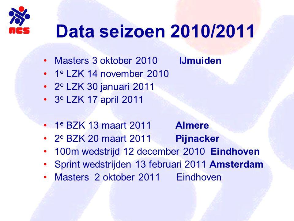 Data seizoen 2010/2011 Masters 3 oktober 2010 IJmuiden 1 e LZK 14 november 2010 2 e LZK 30 januari 2011 3 e LZK 17 april 2011 1 e BZK 13 maart 2011 Al