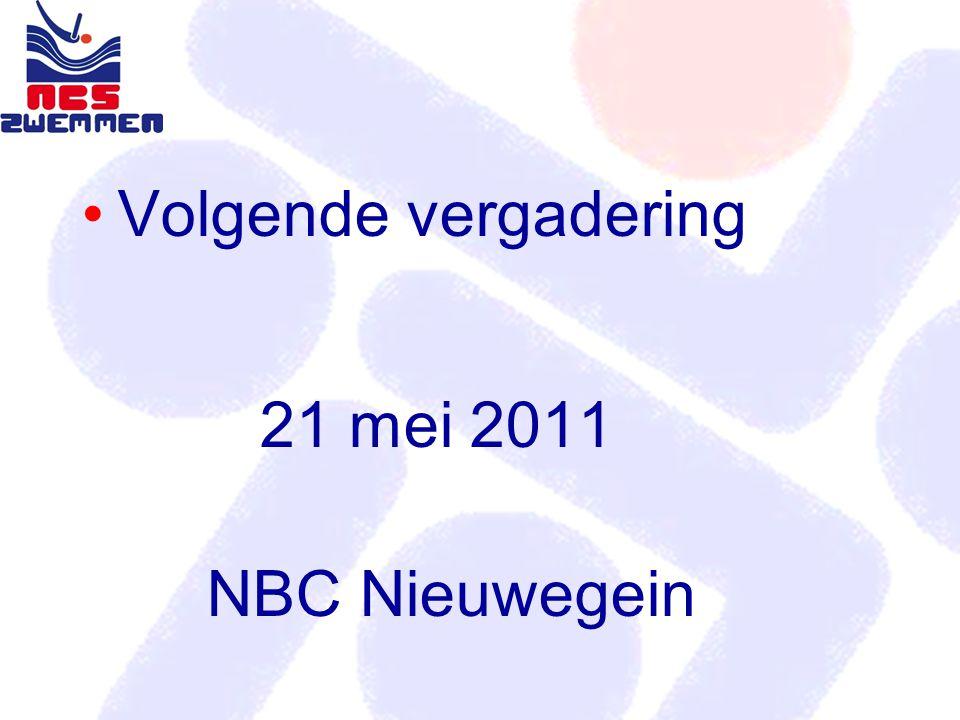Volgende vergadering 21 mei 2011 NBC Nieuwegein