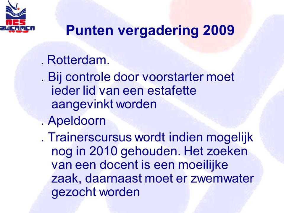 Punten vergadering 2009. Rotterdam.. Bij controle door voorstarter moet ieder lid van een estafette aangevinkt worden. Apeldoorn. Trainerscursus wordt