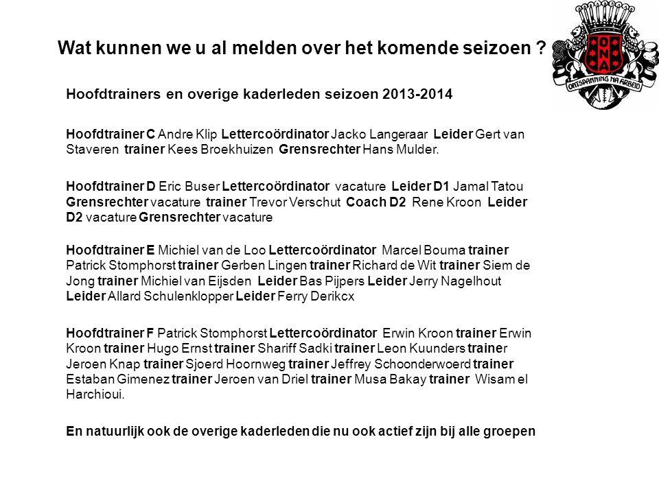 Wat kunnen we u al melden over het komende seizoen ? Hoofdtrainers en overige kaderleden seizoen 2013-2014 Hoofdtrainer C Andre Klip Lettercoördinator
