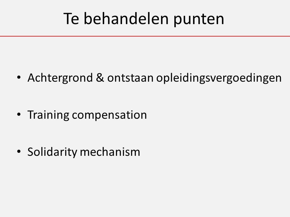 Te behandelen punten Achtergrond & ontstaan opleidingsvergoedingen Training compensation Solidarity mechanism