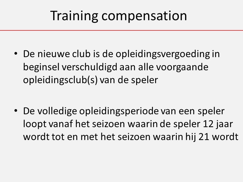 Training compensation De nieuwe club is de opleidingsvergoeding in beginsel verschuldigd aan alle voorgaande opleidingsclub(s) van de speler De volledige opleidingsperiode van een speler loopt vanaf het seizoen waarin de speler 12 jaar wordt tot en met het seizoen waarin hij 21 wordt
