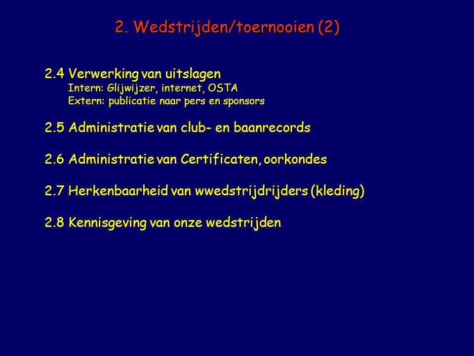 2. Wedstrijden/toernooien (2) 2.4Verwerking van uitslagen Intern: Glijwijzer, internet, OSTA Extern: publicatie naar pers en sponsors 2.5Administratie