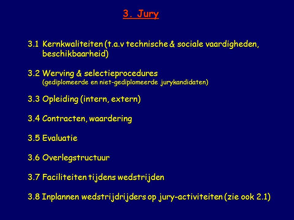 3. Jury 3.1Kernkwaliteiten (t.a.v technische & sociale vaardigheden, beschikbaarheid) 3.2 Werving & selectieprocedures (gediplomeerde en niet-gediplom