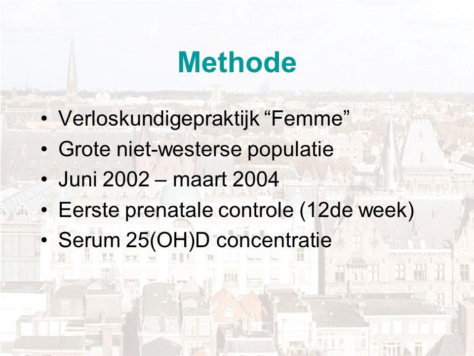 """Methode Verloskundigepraktijk """"Femme"""" Grote niet-westerse populatie Juni 2002 – maart 2004 Eerste prenatale controle (12de week) Serum 25(OH)D concent"""